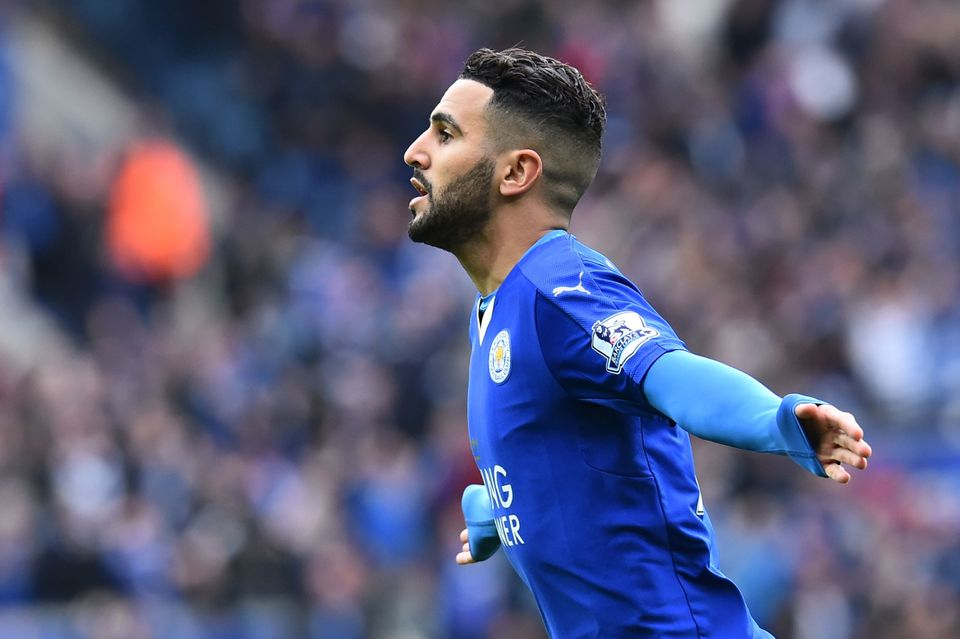 Leicester City's Algerian midfielder Riyad Mahrez celebrates scoring the opening goal during the English Premier League footb