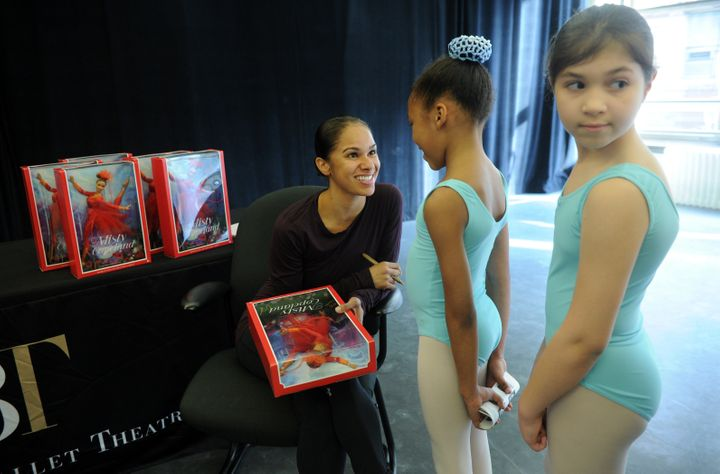 Project Plié dancers get a look at Copeland's new Barbie.
