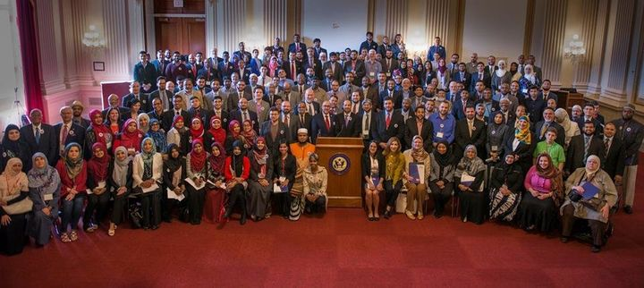 A group photo from National Muslim Advocacy Day on Capitol Hill in Washington, D.C in April 2016 included many members o