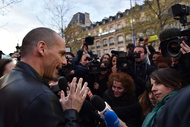 Ex-Greek finance minister Yanis Varoufakis appears at an encampment of protesters in Paris opposed to neoliber