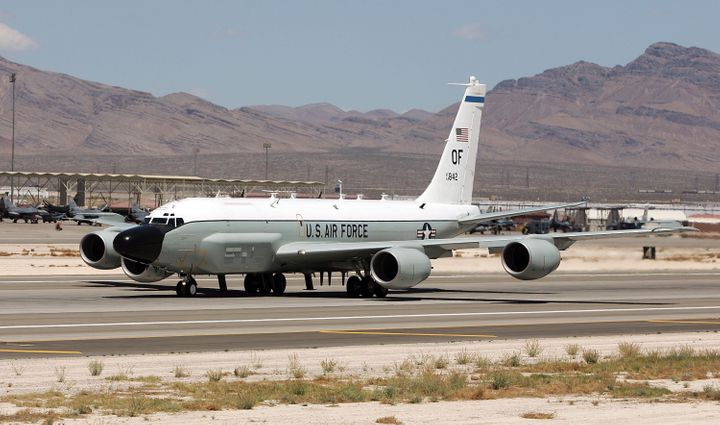 United States Air Force RC-135 RIVET JOINT aircraft takes off from Nellis Air Force Base while participating in the Joint Exp