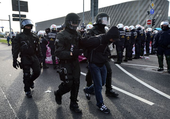 Police said 400 protesters were detained for throwing stones and fireworks.