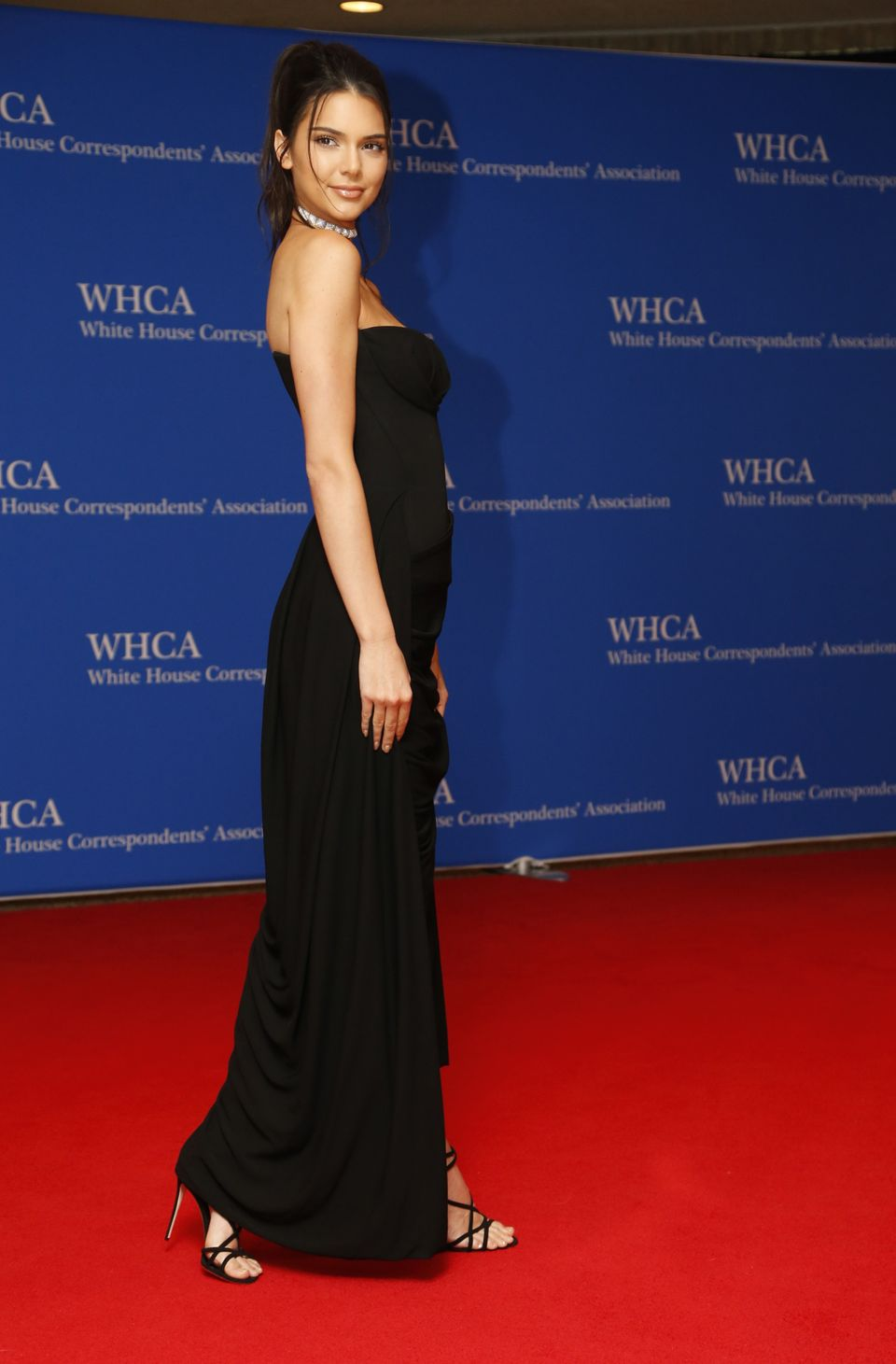 Model Kendall Jenner arrives on the red carpet for the annual White House Correspondents Association Dinner in Washington, U.