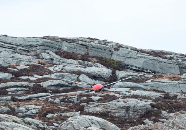 A rotor blade from the helicopter which crashed west of the Norwegian city of Bergen lies on the