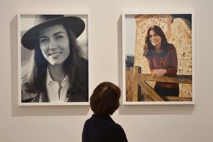 The two photos of the Duchess of Cambridge on display at London's National Portrait Gallery.