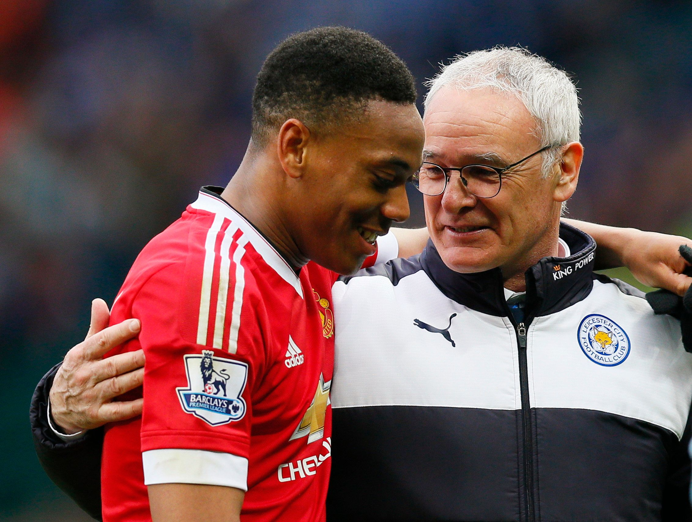 "Britain Football Soccer - Manchester United v Leicester City - Barclays Premier League - Old Trafford - 1/5/16 Leicester City manager Claudio Ranieri and Manchester United's Anthony Martial at the end of the match Action Images via Reuters / Jason Cairnduff Livepic EDITORIAL USE ONLY. No use with unauthorized audio, video, data, fixture lists, club/league logos or ""live"" services. Online in-match use limited to 45 images, no video emulation. No use in betting, games or single club/league/player publications.  Please contact your account representative for further details."
