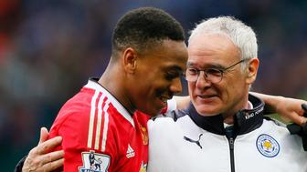 """Britain Football Soccer - Manchester United v Leicester City - Barclays Premier League - Old Trafford - 1/5/16 Leicester City manager Claudio Ranieri and Manchester United's Anthony Martial at the end of the match Action Images via Reuters / Jason Cairnduff Livepic EDITORIAL USE ONLY. No use with unauthorized audio, video, data, fixture lists, club/league logos or """"live"""" services. Online in-match use limited to 45 images, no video emulation. No use in betting, games or single club/league/player publications.  Please contact your account representative for further details."""
