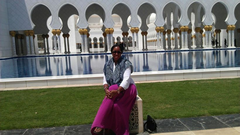 Enjoying a beautiful day at the Grand Mosque Abu Dhabi.