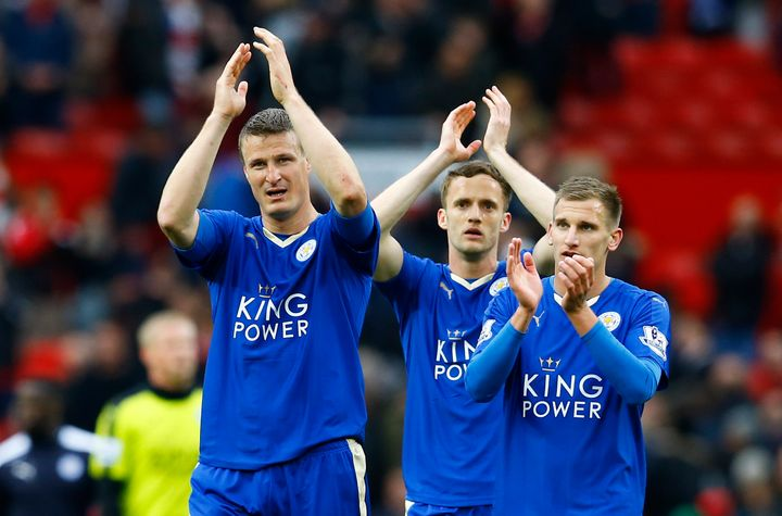 Leicester City's Robert Huth applauds the fans at the end of the game.
