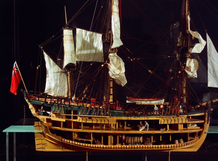 A scale model of the HMS Endeavour.
