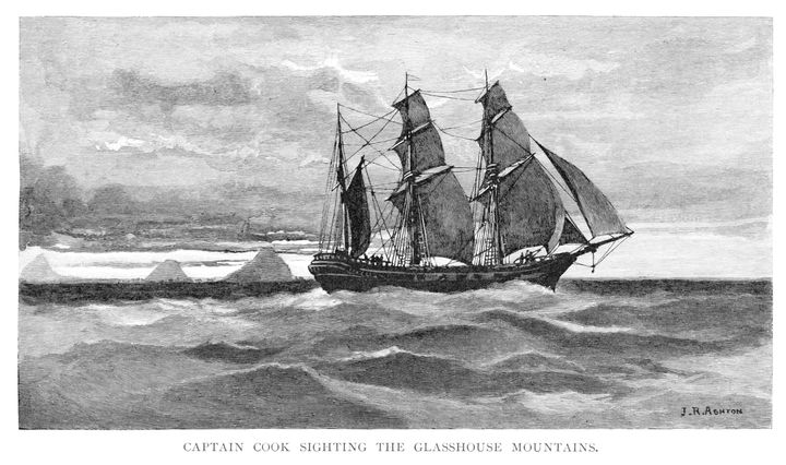A wood engraving showing the HMS Endeavour off Australia.