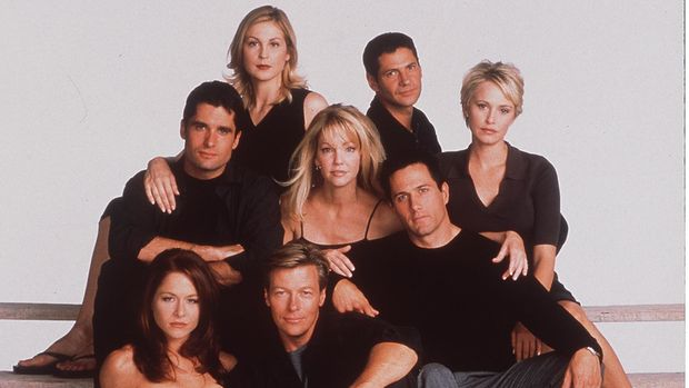 1998 The 7Th Year Of Melrose Place. (L To R) John Haynnes Newton, Kelly Rutherford, Rob Estes, Heather Locklear, Jack Wagner, Jamie Luner, Josie Bisset, Michael Calabro. (Photo By Getty Images)