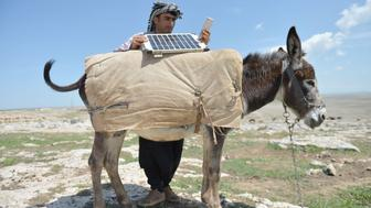 SANLIURFA, TURKEY - APRIL 25: Shepherds charge their phones with solar panels carried by donkeys, in Turkey's Sanliurfa on April 25, 2016. Shepherds, spend most of their times at tablelands to herd animals and cannot find any place to charge their phones, use this method to solve their battery issue in order to call their relatives in case of emergency and listen to music. (Photo by Halil Fidan/Anadolu Agency/Getty Images)