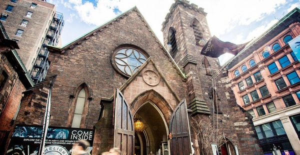 This is the old Church of the Holy Communion, locatedin New York's Flatiron district. The 19th century Episcopal church