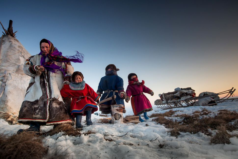 A Nenet family, 150 km from the town of Salekhard, Yamalo-Nenets Autonomous Okrug, in Russia on April 2, 2016.