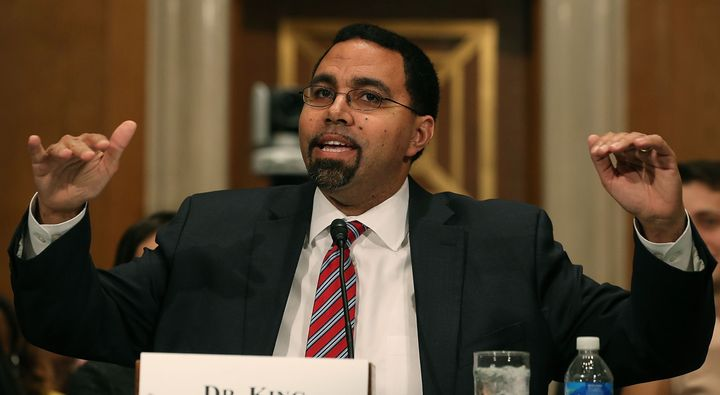 Education Secretary John King Jr. wants states to repeal so-called bathroom laws that discriminate against tra