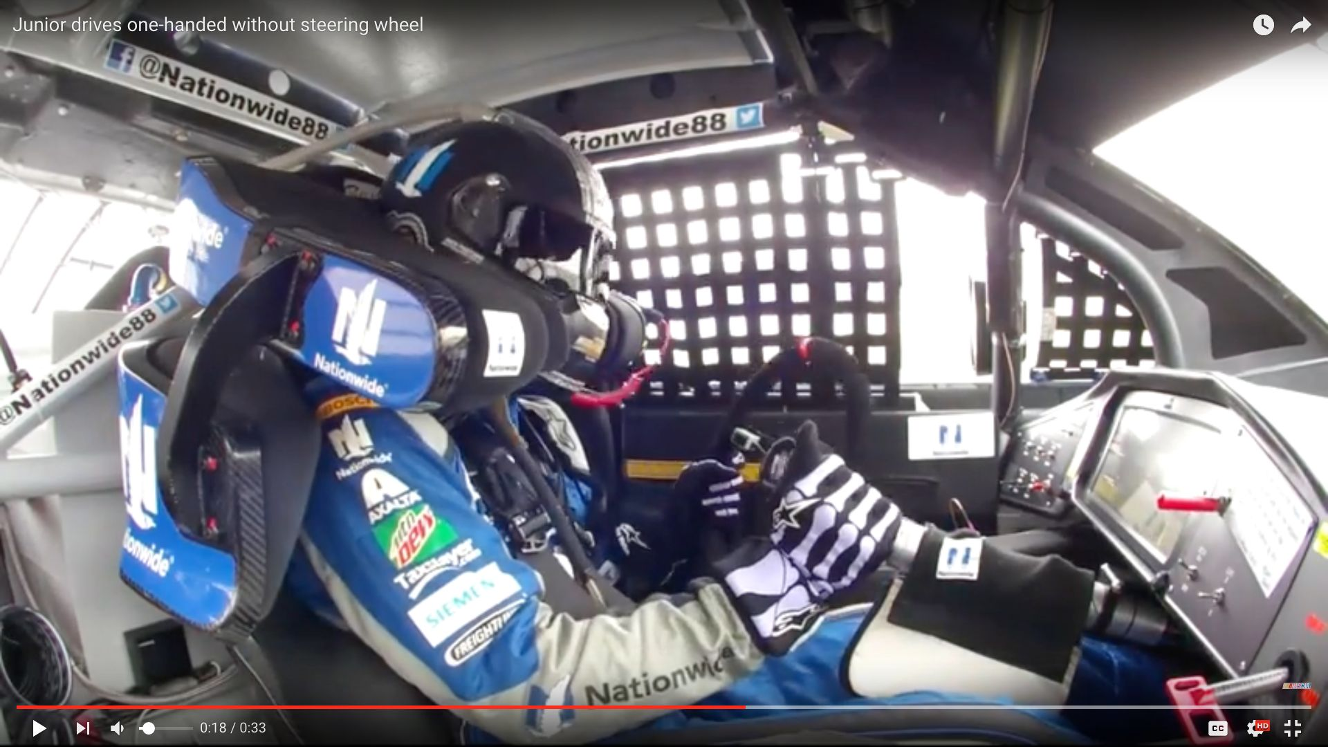 NASCAR driver Dale Earnhardt Jr. is seen steering with his steering column after the wheel popped of mid-race Sunday.