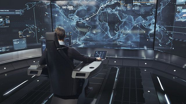 An autonomous ship would be overseen by a captain in a remote cockpit.
