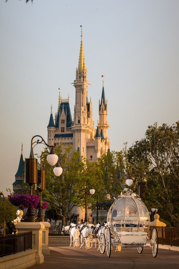 Brides can take Cinderella's coach to East Plaza Garden for their grand entrance -- for a fee.
