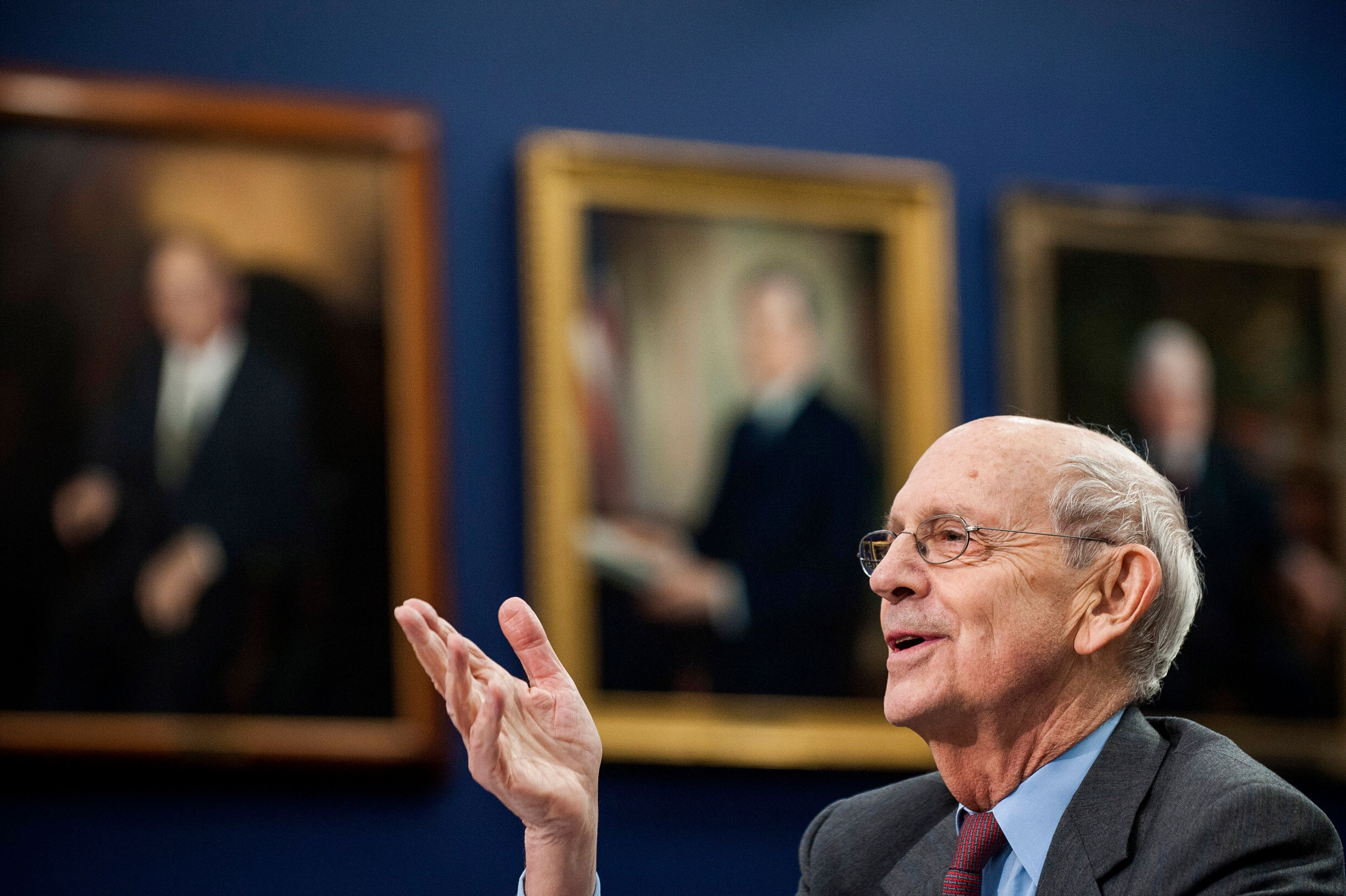 U.S. Supreme Court Justice Stephen Breyer testifies during a Financial Services and General Government Subcommittee in Washington, D.C., U.S., on Monday, March 23, 2015. Sprinting toward their spring recess, the House and Senate will separately consider budget blueprints, perhaps leading to the first joint congressional budget in six years. Photographer: Pete Marovich/Bloomberg via Getty Images