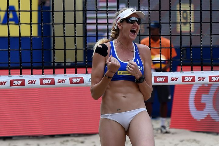 Kerri Walsh Jennings of the United States celebrates during the gold medal match at the FIVB Rio Grand Slam on March 13, 2016