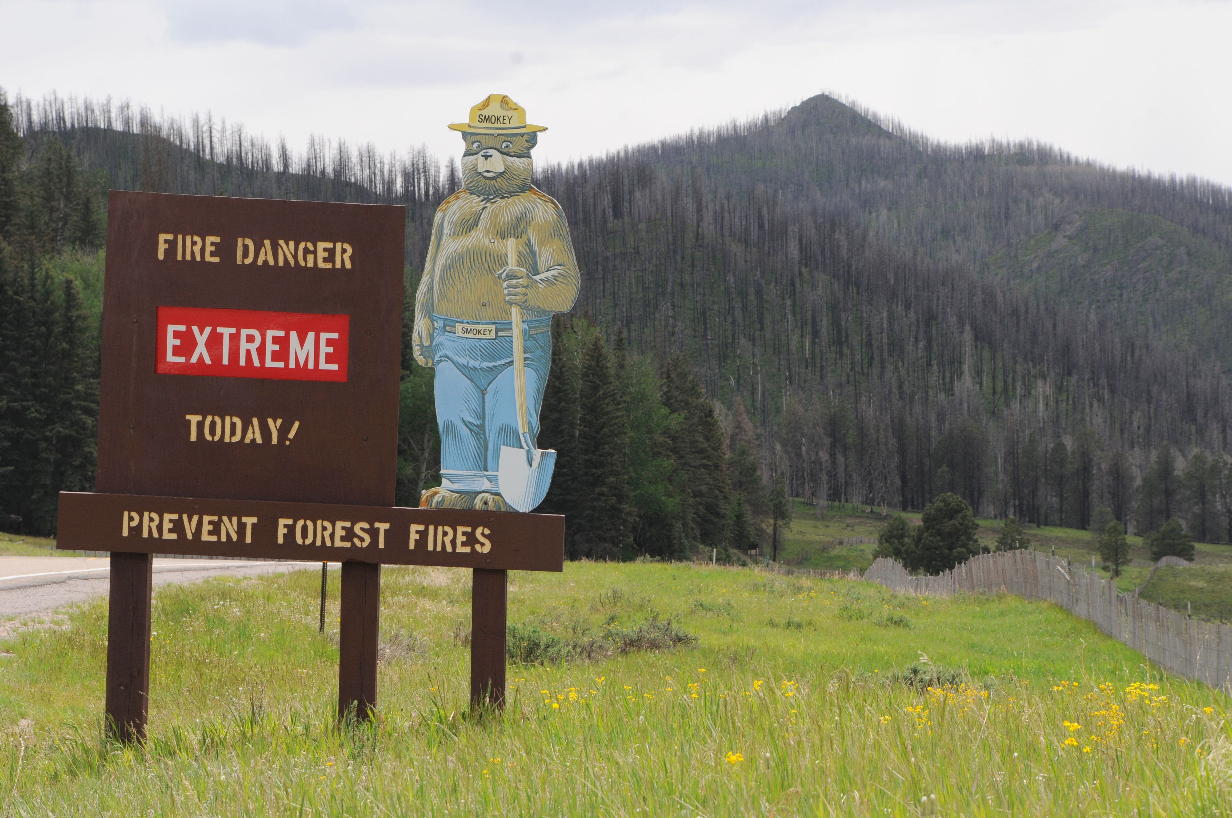 A sign indicates fire danger in New Mexico's Valles Caldera National Park in this undated file photo.