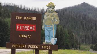 Smokey Bear prevent Fires Valles Caldera Sign National Park New Mexico