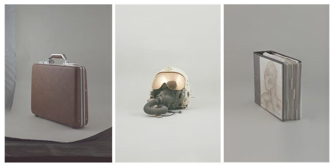 L-R: Suitcase containing material from the UFO crash site in Roswell; former CIA pilot John Lear's helmet; and a book with dr