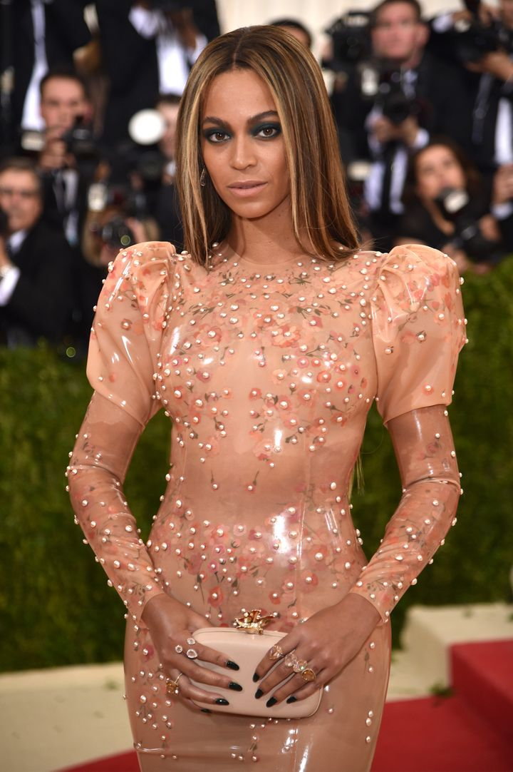 Up-close view of Beyonce's latex gown at the Met Gala.