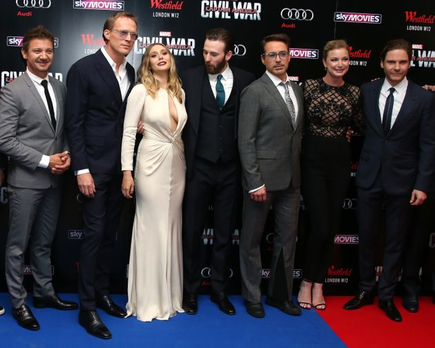 Paul (second left) with the rest of his A-list 'Captain America: Civil War'