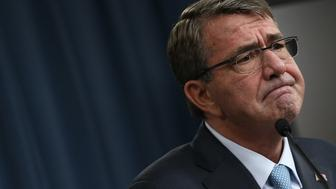 ARLINGTON, VA - OCTOBER 15:  U.S. Secretary of Defense Ash Carter answers questions while briefing reporters at the Pentagon on the U.S. military role in Afghanistan October 15, 2015 in Arlington, Virginia. Earlier in the day U.S. President Barack Obama announced plans to leave the current U.S. force in Afghanistan at existing levels through most of 2016 and potentially reducing the size of the force in 2017.  (Photo by Win McNamee/Getty Images)