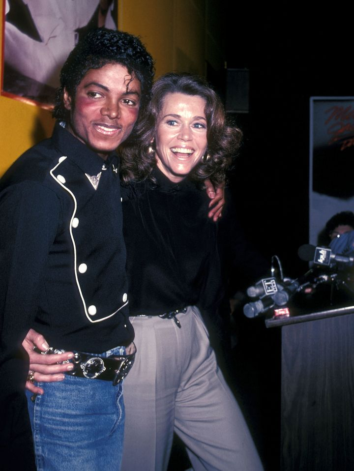 Michael Jackson and Jane Fonda attend the presentation of Michael Jackson's 'Thriller' album certified platinum on Feb.