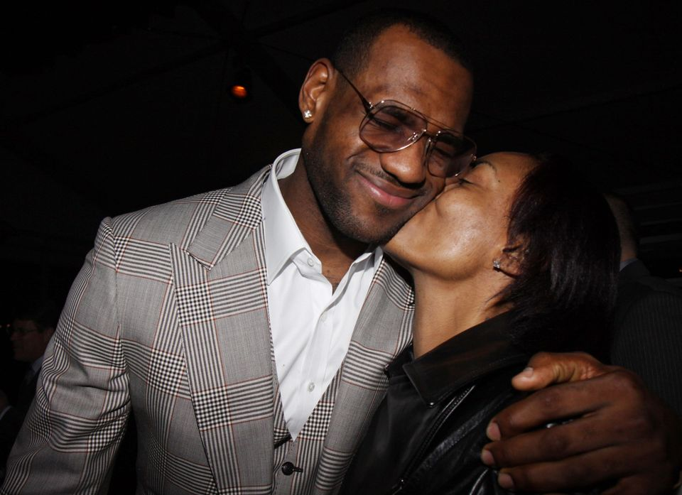 PHOENIX - FEBRUARY 14:  (L-R) Lebron James and his mom attend Sprite's 3rd Annual Jay-Z And Lebron James 'Two Kings' Dinner &