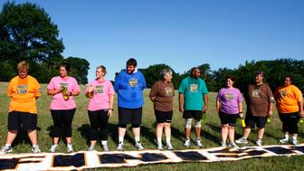 THE BIGGEST LOSER -- Episode 808 -- Pictured: (l-r) Danny Cahill, Rebecca Meyer, Rudy Pauls, Liz Young, Allen Smith, Tracey Yukich, Daniel Wright, Shay Sorrells -- (Photo by: Trae Patton/NBC/NBCU Photo Bank via Getty Images)