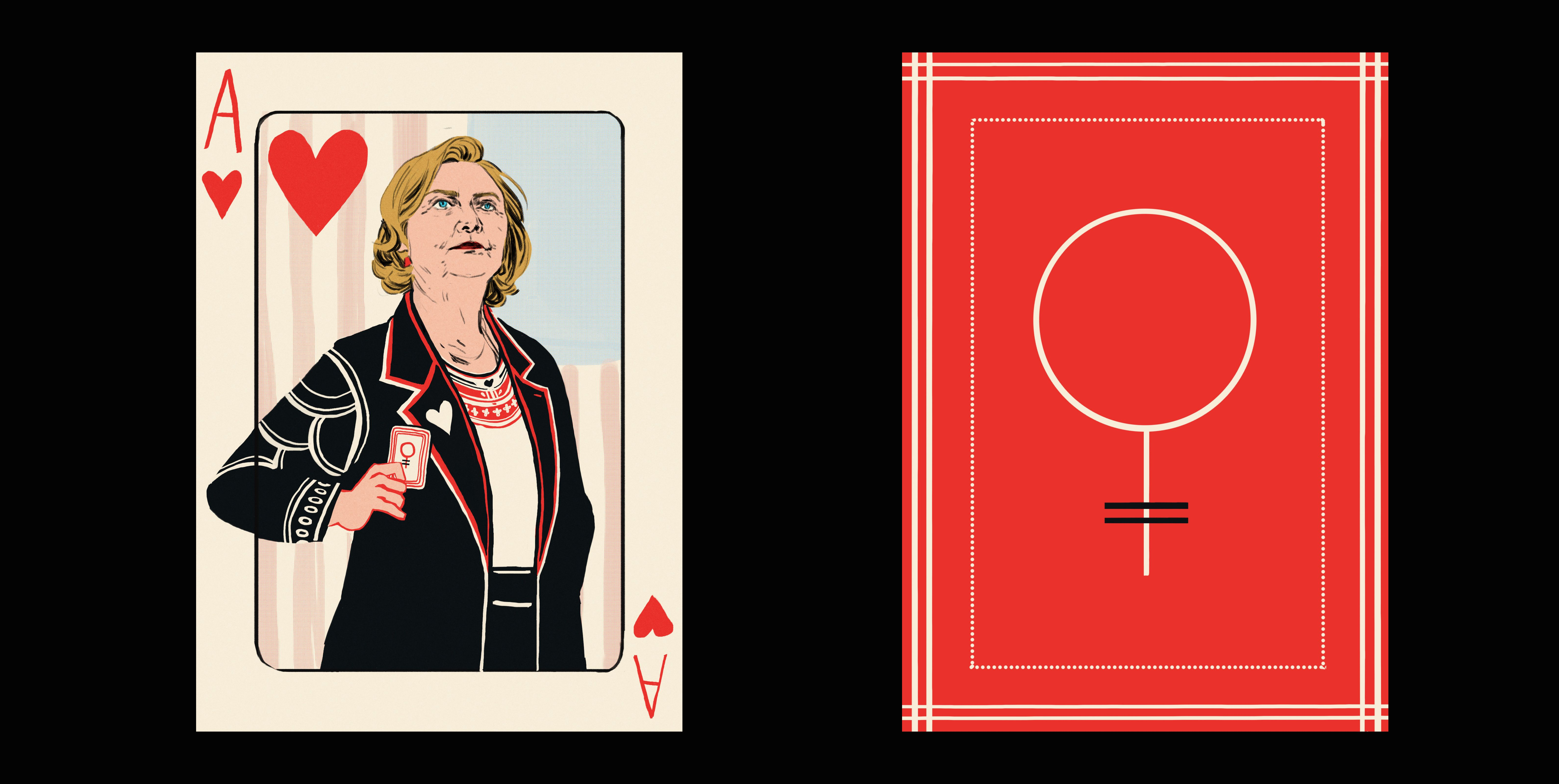 """Hillary Clinton is the """"Ace,"""" while the back of the cards feature the symbol for """"woman."""" The Woman Card[s]indeed."""