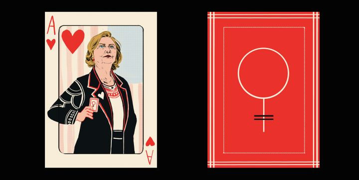 "Hillary Clinton is the ""Ace,"" while the back of the cards feature the symbol for ""woman."" The Woman Card[s] indeed."