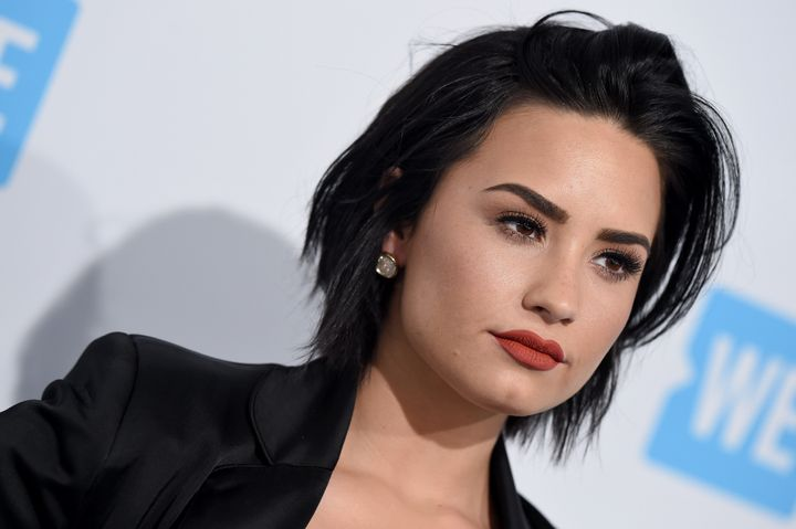 Demi Lovato arrives at WE Day California at The Forum on April 7, 2016 in Inglewood, California.