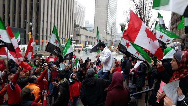 Protesters in Toronto, Canada.