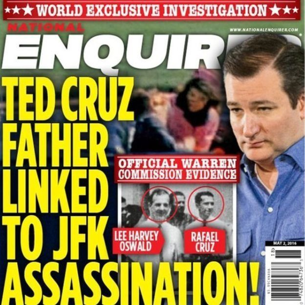 The National Enquirer front page that linked Rafael Cruz to JFK's