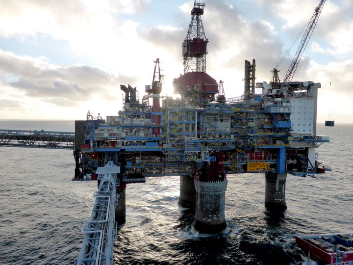 Oil and gas company Statoil drilling and accommodation platform Sleipner A is pictured in the offshore near the Stavanger, No