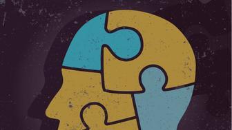 human head in puzzle pieces