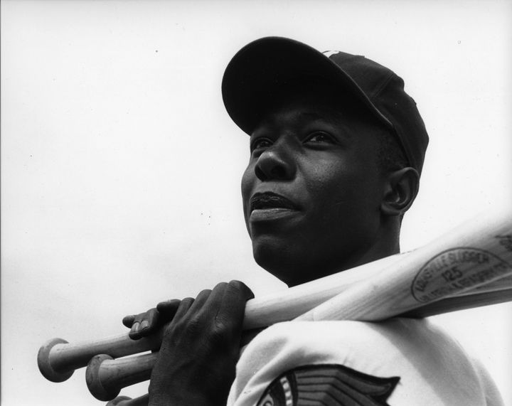 The Milwaukee Braves' Hank Aaron poses for a portraitin 1957.