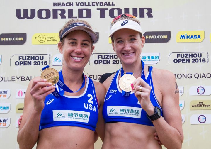 Kerri Walsh and April Ross pose with their gold medal at the FIVB Beach Volleyball World Tour Fuzhou Open on April 24 in