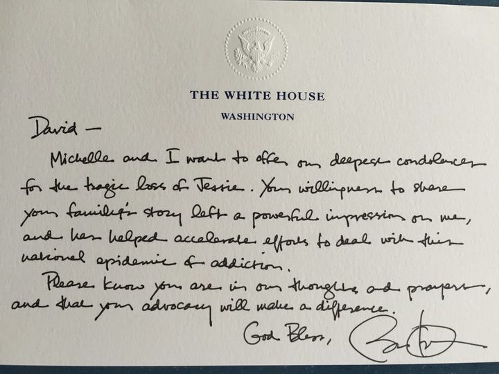 A letter from President Obama, provided by David Grubb