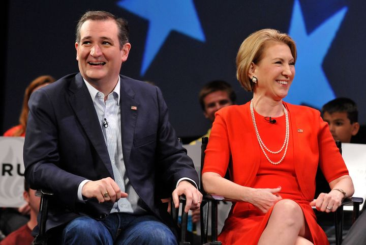 Texas Sen. Ted Cruz with his running mate Carly Fiorina.