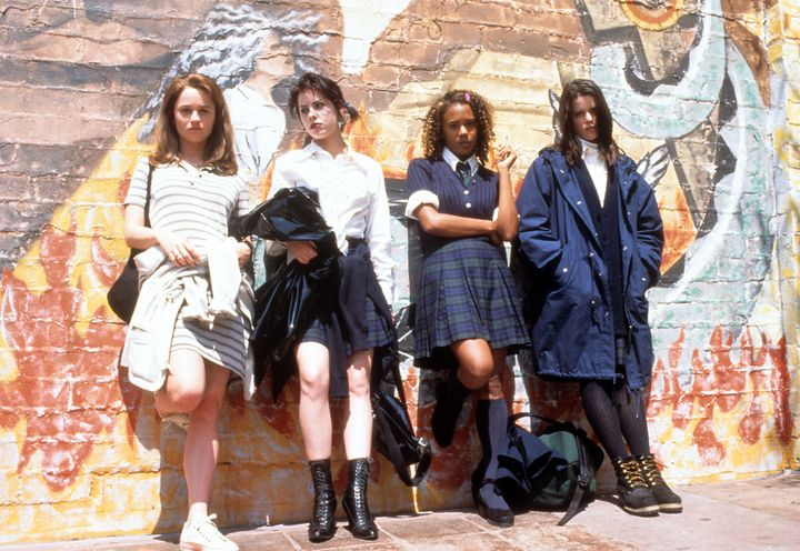 """Robin Tunney, Fairuza Balk, Rachel True and Neve Campbell in a scene from the film """"The Craft,"""" 1996."""