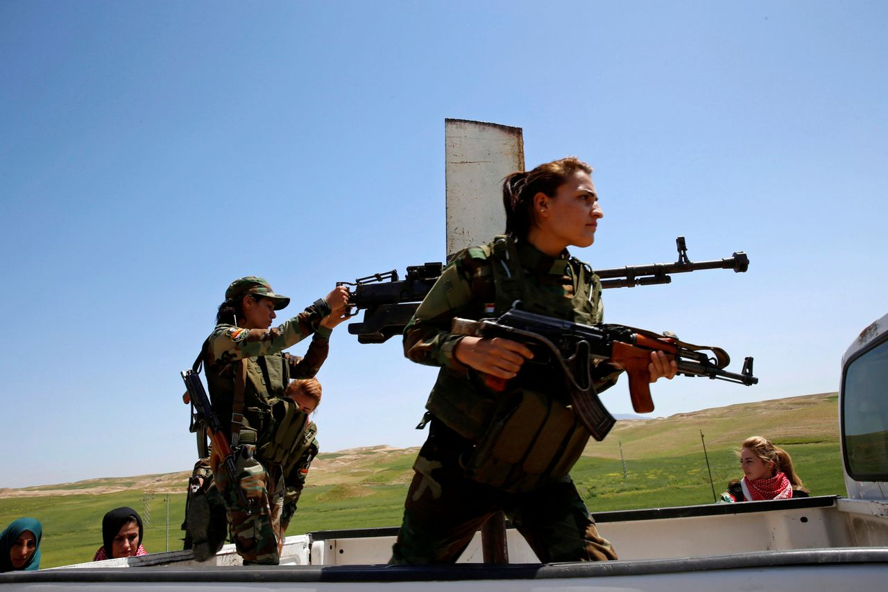 The women say gender does not keep them from entering the battle against the militants.