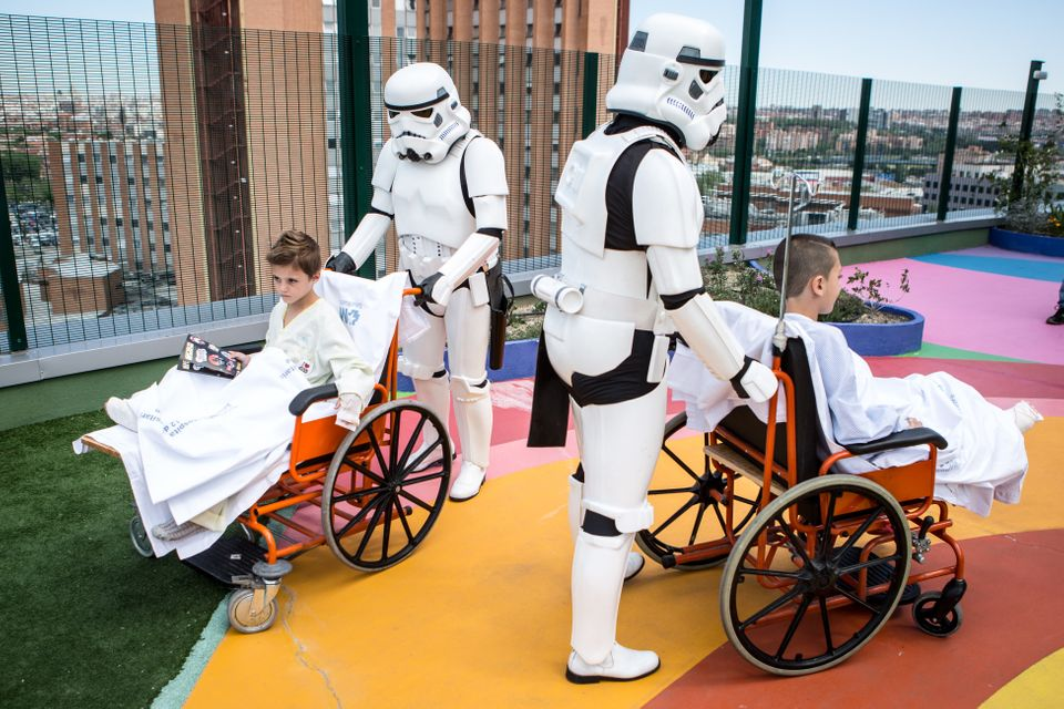 Members of the 501st Legion of Star Wars visit Pediatric Hospital '12 De Octubre' on May 04, 2016 in Madrid, Spain.&nbs