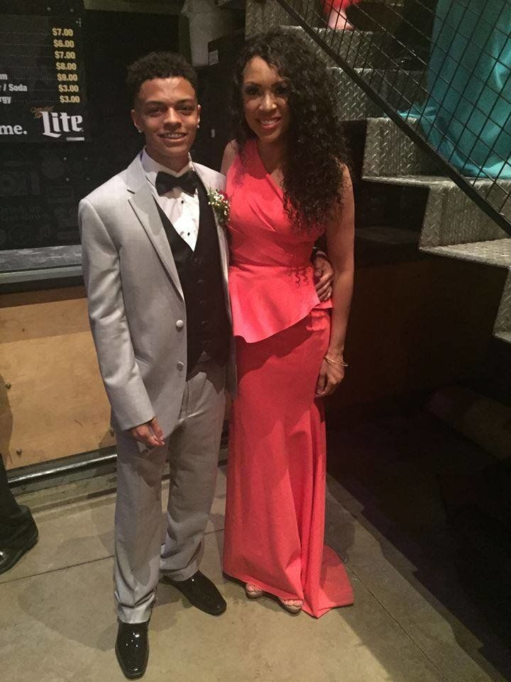 When he was 12, MelissaRoshan Potter's son said he'd take his mom to prom. Years later, he followed through with that promise