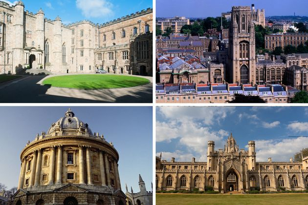 (Clockwise from top left) Durham, Bristol, have fallen out of the top 100, while Oxford and Cambridge...